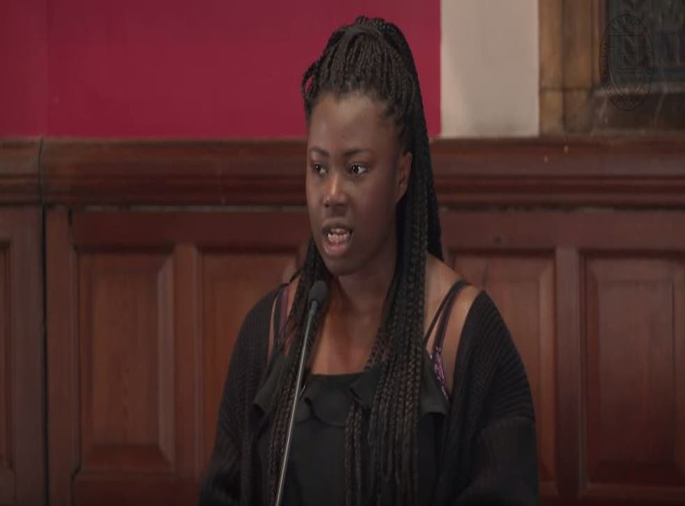The activist speaks at a debate on US racism at Oxford in May