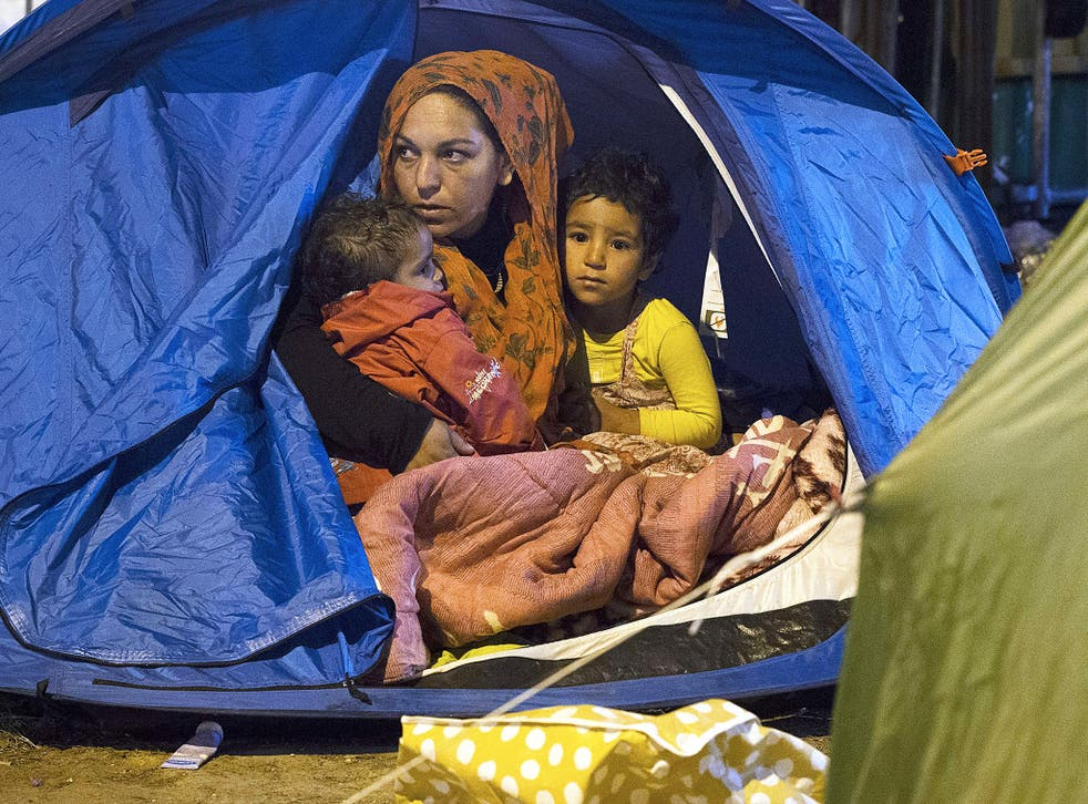 A Syrian family at a refugee camp in northern France
