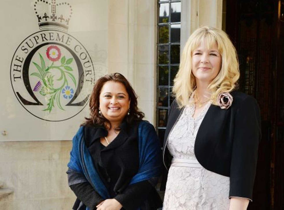 Ms Sharland and Ms Gohil (pictured outside the Supreme Court) said there were 'no winners' in divorce