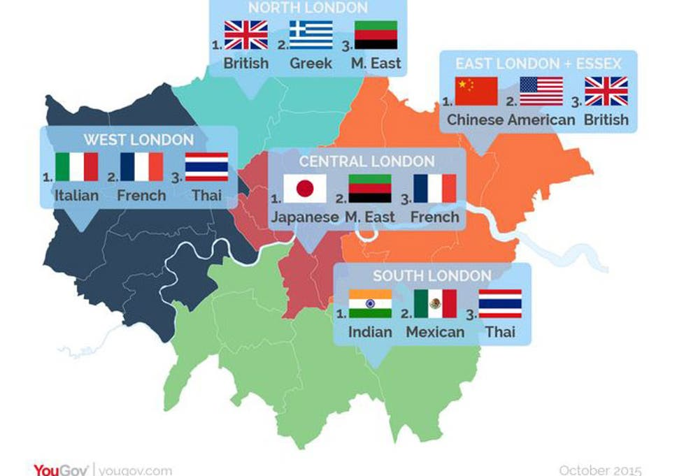 East London Uk Map.London Food Map Which Cuisines Are Popular In Which Parts Of The