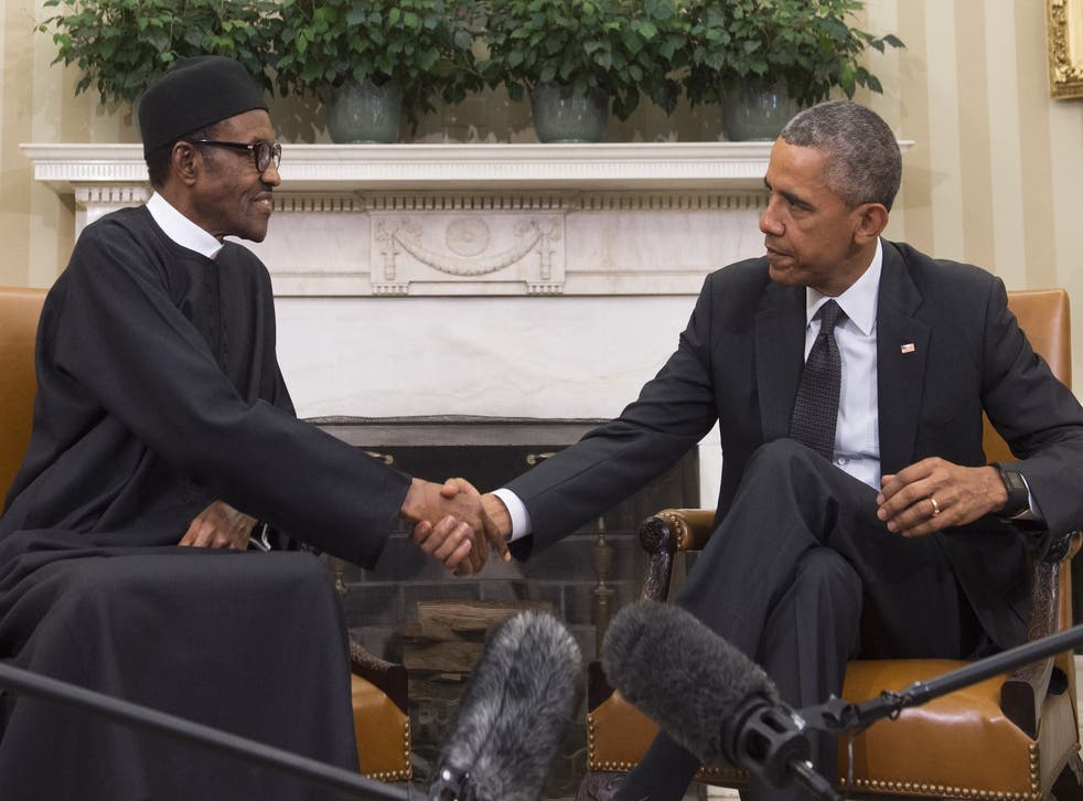 President Obama greets Nigerian President Muhammadu Buhari inside the Oval Office in July. The pair were expected to discuss the ongoing fight against Boko Haram.