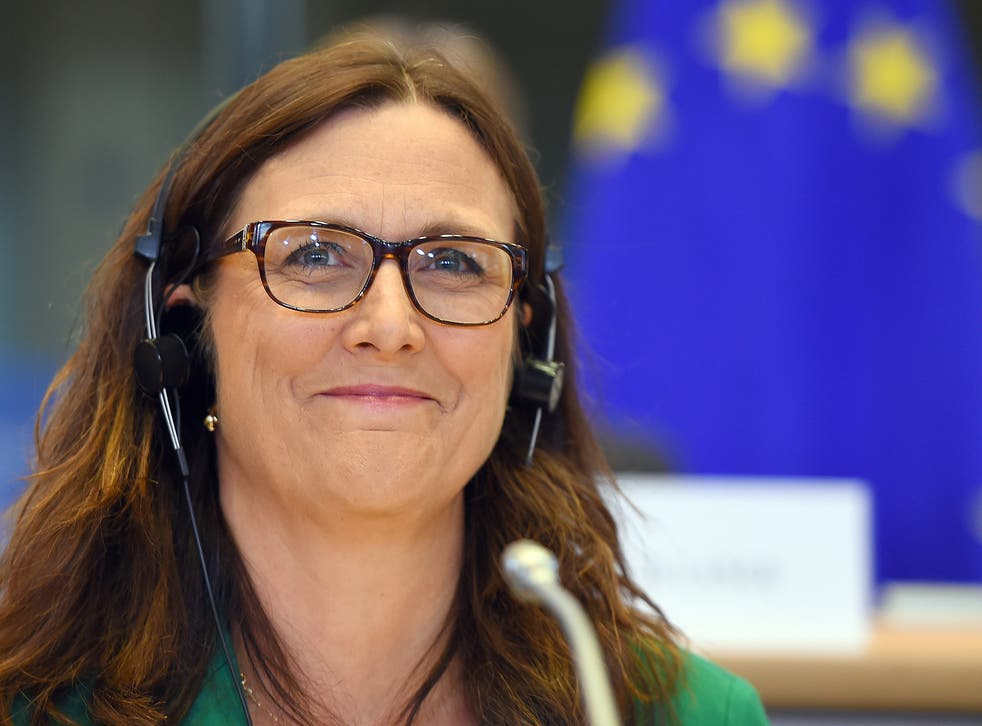 European Commissioner Cecilia Malmstrom attends the European Parliament in Brussels, September 2014