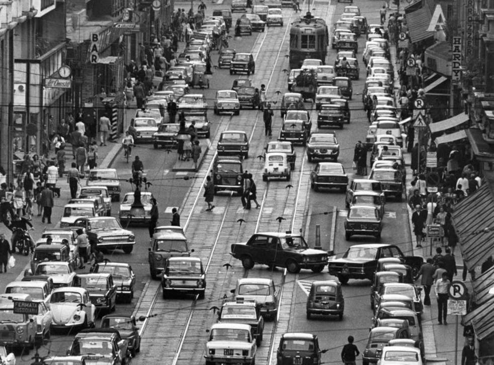 Traffic clogs the road  in Milan  in 1971
