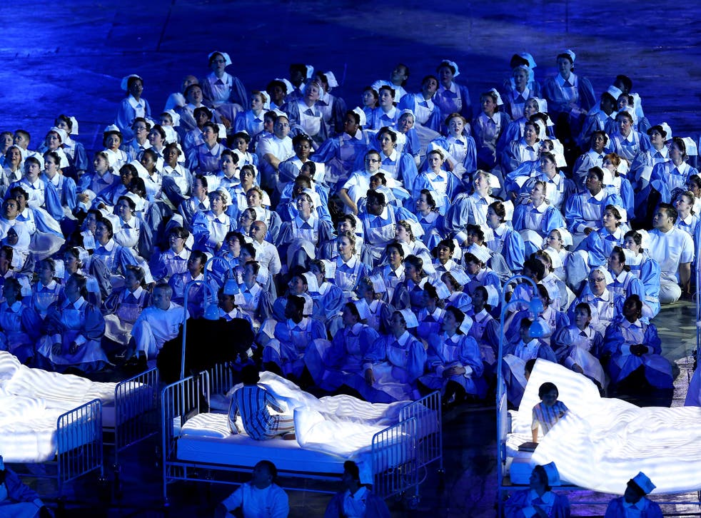 Nurses representing the Great Ormond Street Hospital and the NHS take part in the Opening Ceremony of the London 2012 Olympic Games in 2012. Restrictions on recruitment of overseas nurses have been temporarily suspended