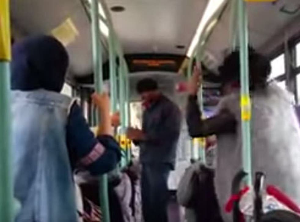The incident was captured by a fellow passenger on the 206 bus