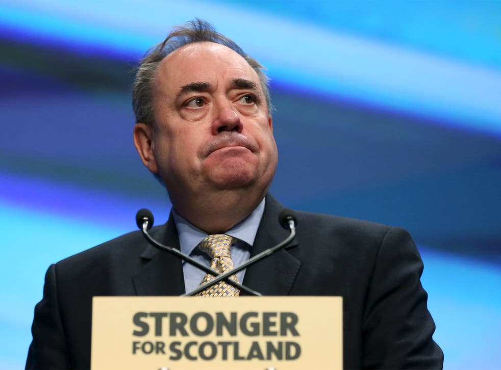 The Scottish National Party's (SNP) former leader Alex Salmond delivers his speech during the party's annual conference in Aberdeen, Scotland