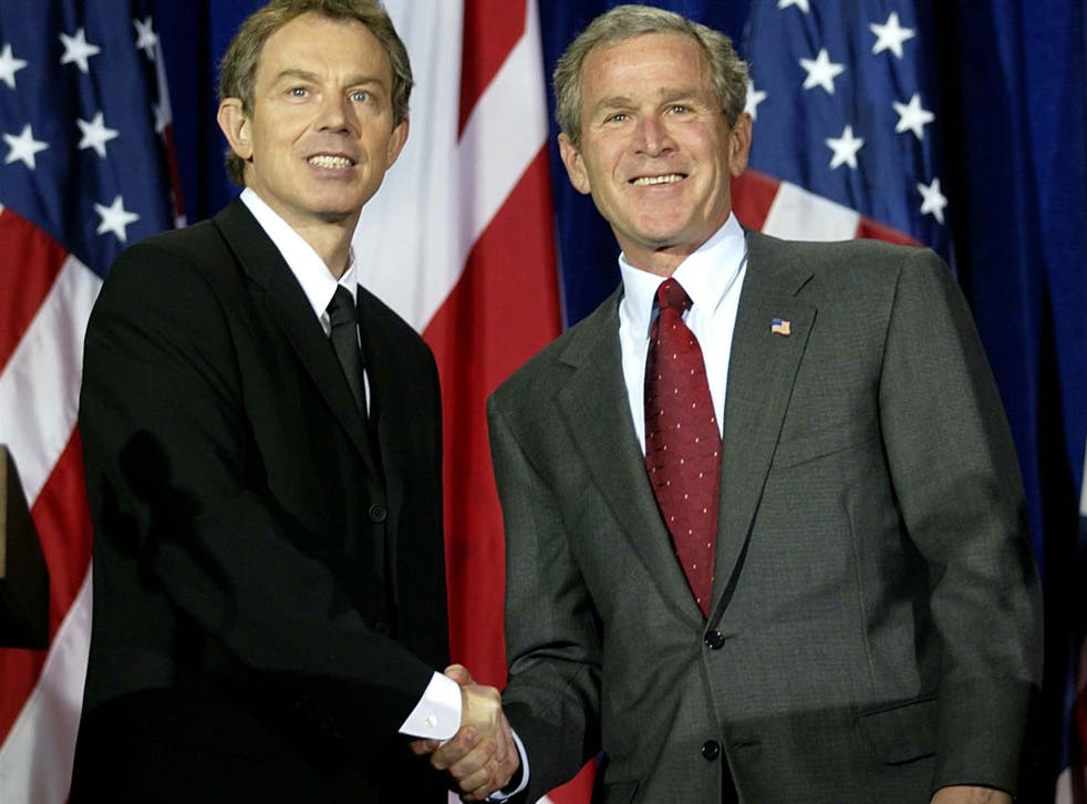 The memo was written ahead of Tony Blair visiting President George W Bush in Crawford, Texas