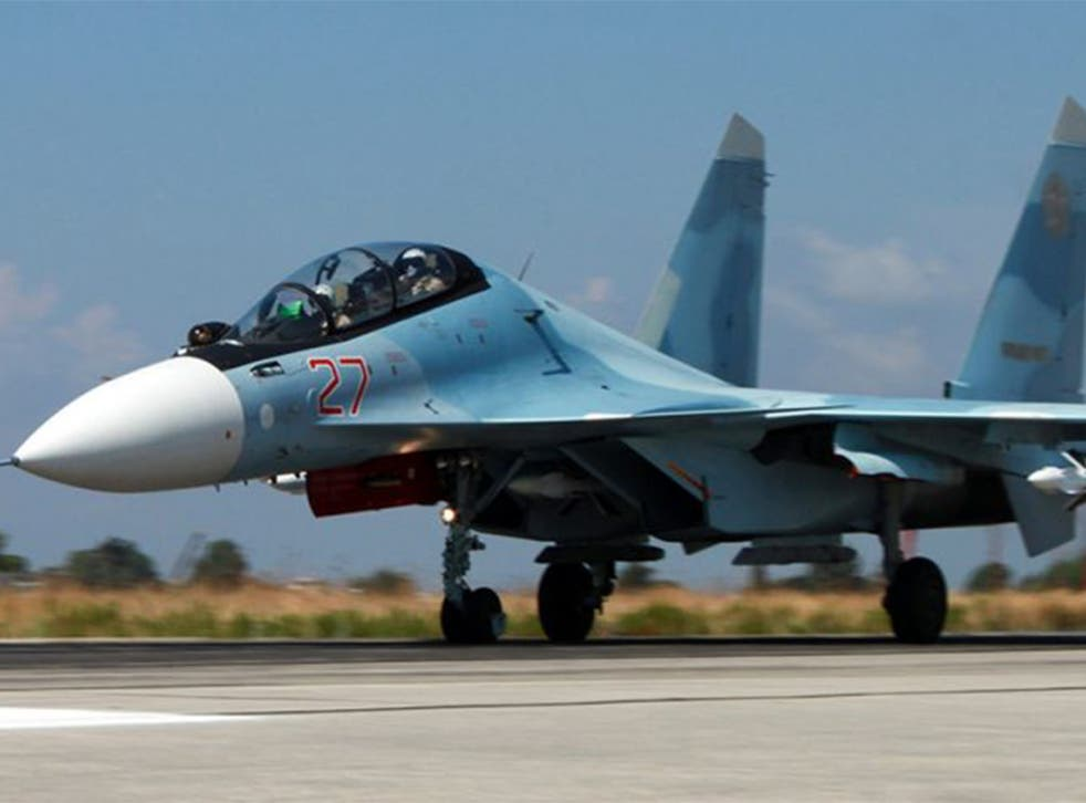 Russian SU-34 fighter-bomber at the Syrian Hmeymim airbase, outside Latakia, Syria
