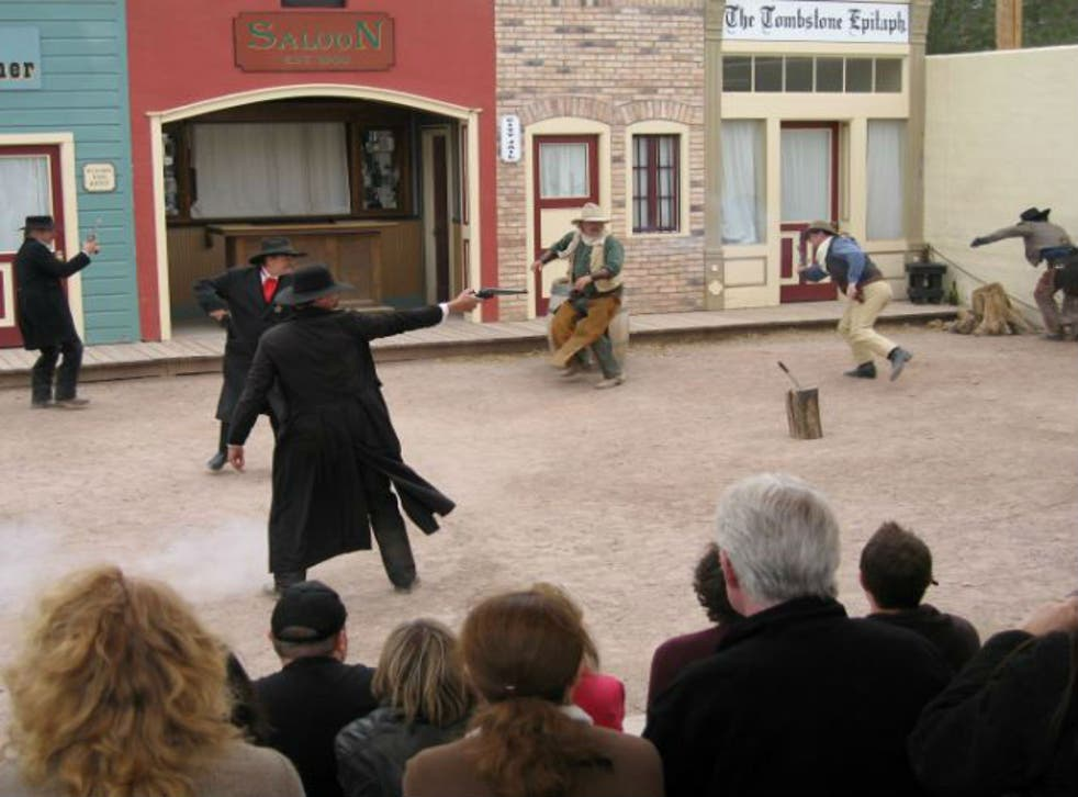 A reenactment of the gunfight in 2011