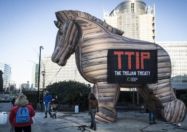 Protest against TTIP outside EU headquarters in Brussels, Belgium - 04 Feb 2015