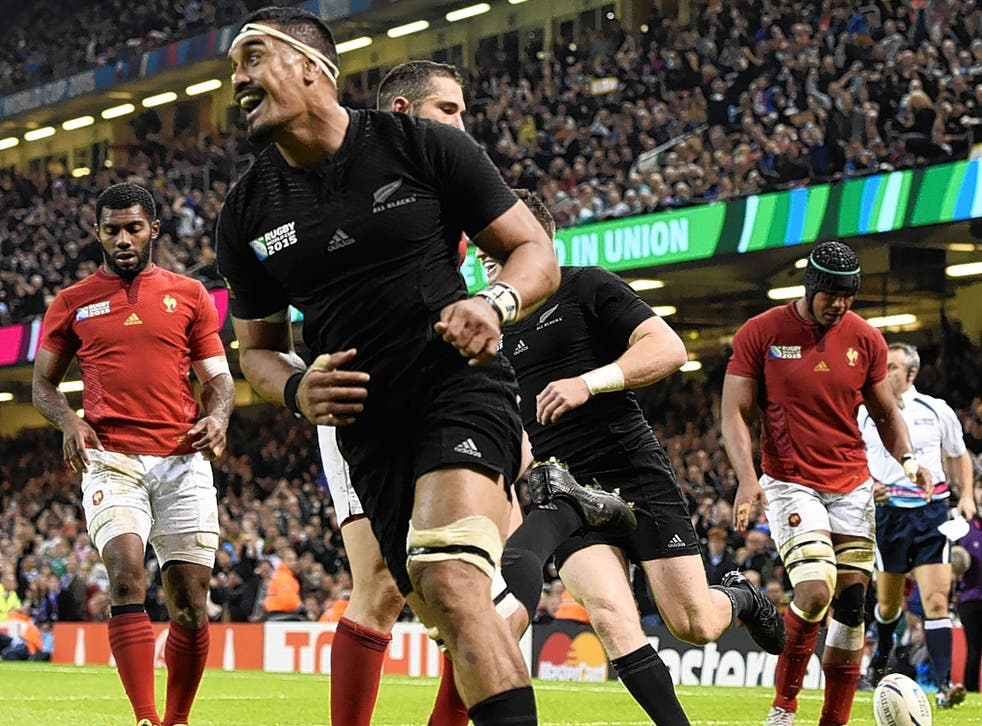 New Zealand's Jerome Kain celebrates scoring a try during Saturday's quarter-final win over France