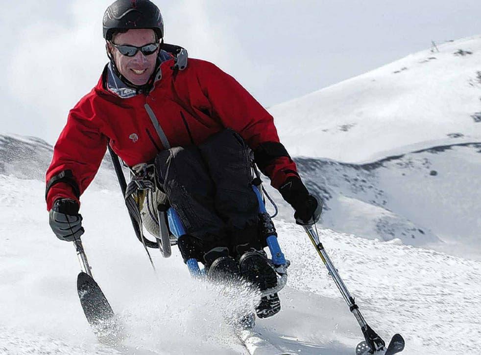Gardner puts his sit-ski through its paces