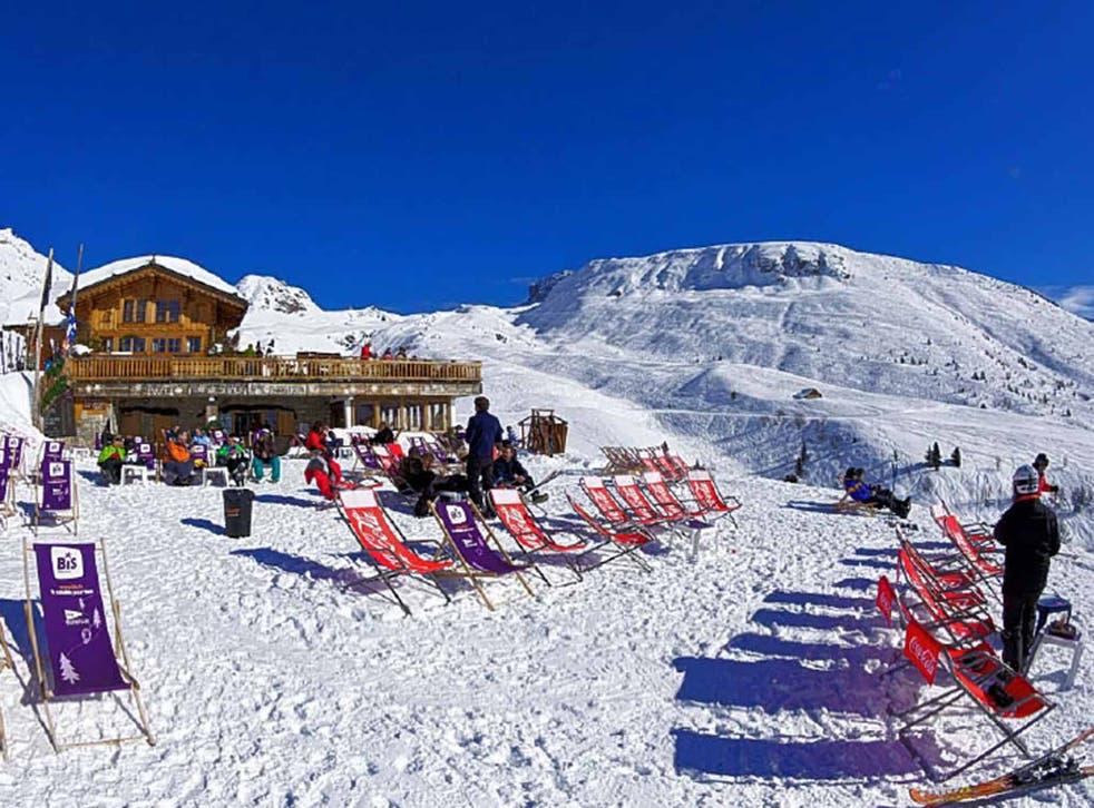 Skiers at La Plagne
