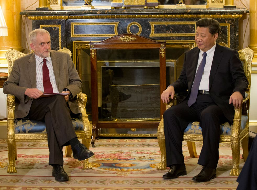 Labour party leader Jeremy Corbyn meets with the China's President, Xi Jinping