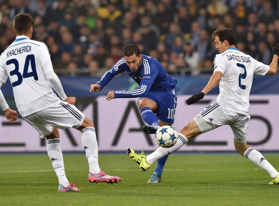 Eden Hazard in action for Chelsea against Dinamo Kiev