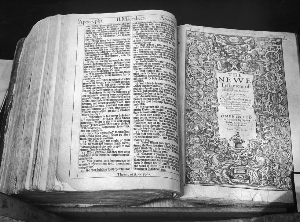The first issue of the first edition of the 'Authorised Version' of the English Bible, printed in London in 1611 by Robert Barker. Commissioned by King James I, it is also known as the King James Version.