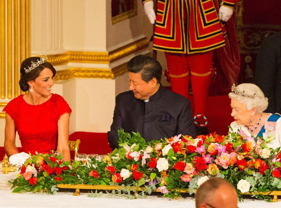 President Xi was welcomed by the Queen and the Duchess of Cambridge at Buckingham Palace