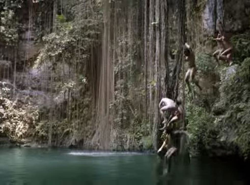 The ad was filmed at the Ik Kil cenote, or water sinkhole, in Mexico, a popular tourist spot