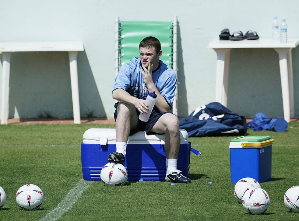 A 17-year-old Wayne Rooney trains with the England squad in Spain during the summer of 2003