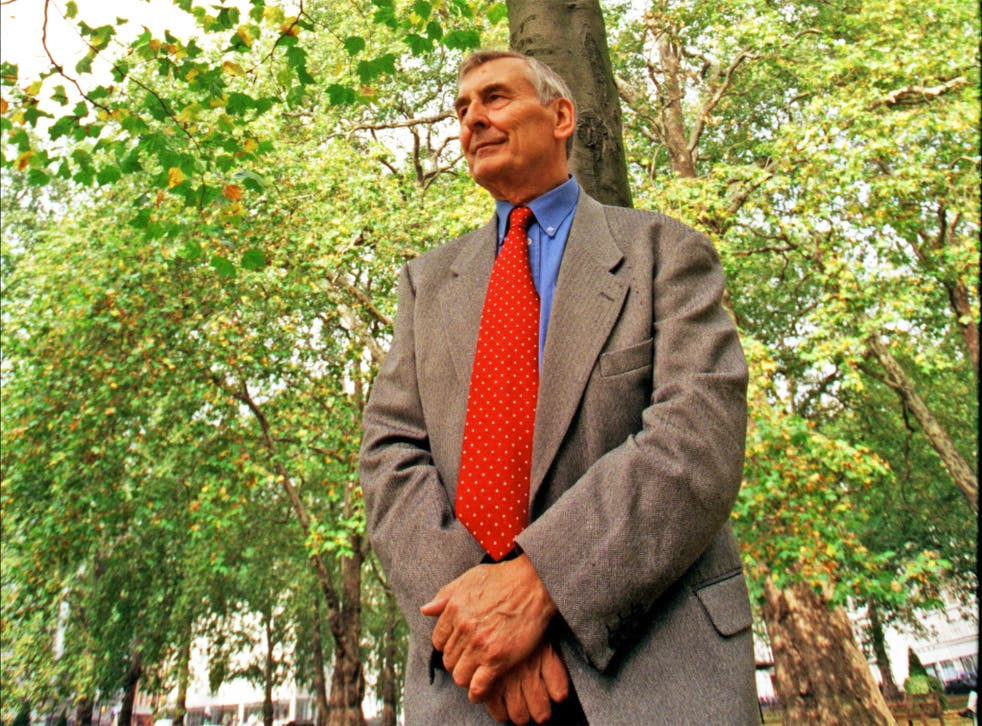 McGill in Hyde Park in 1987, during his tree-planting appeal following the Great Storm