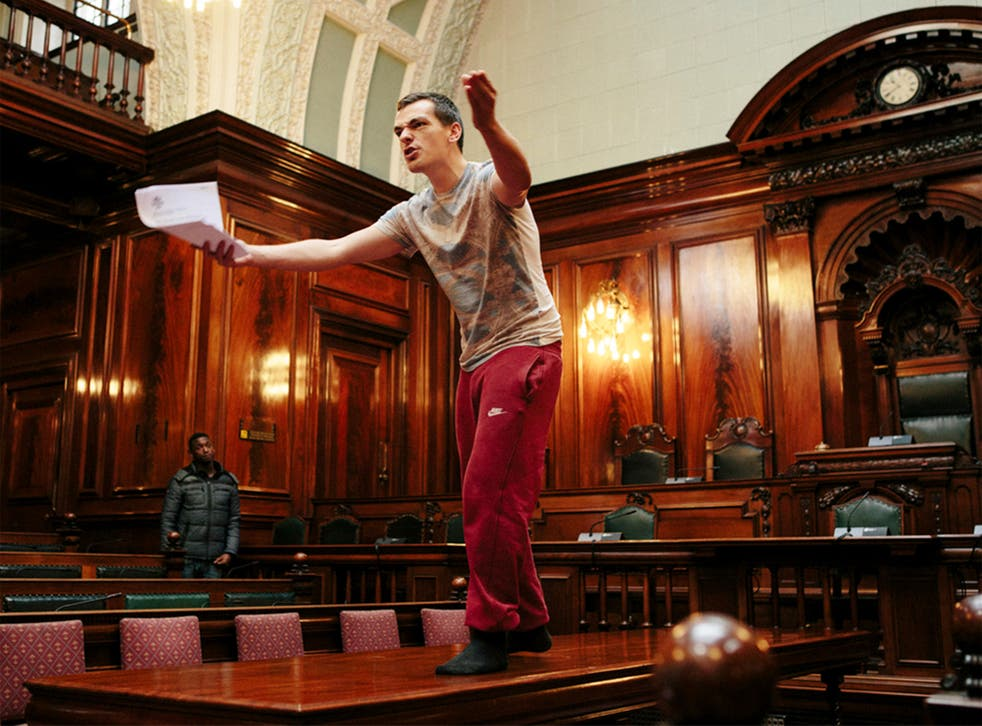 Common Wealth's Cain Connelly rehearsing in Bradford council chambers this week
