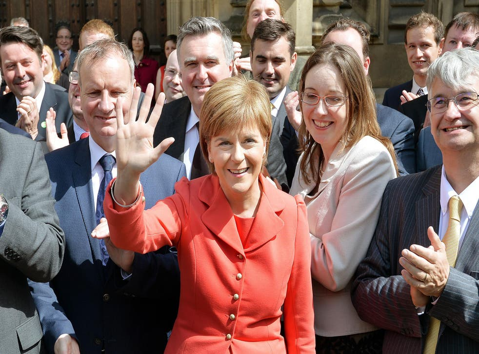 SNP leader Nicola Sturgeon shows off her 56 MPs following the party's election triumph