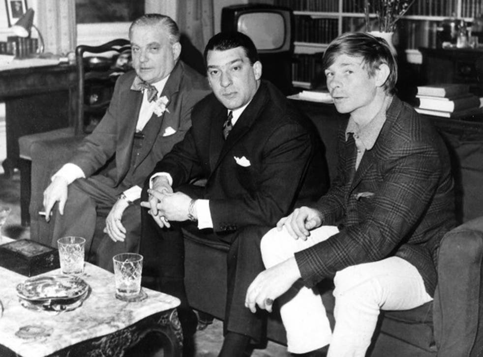 Lord Boothby, left, with Ronnie Kray, centre, and Leslie Holt, the former's chauffeur and lover