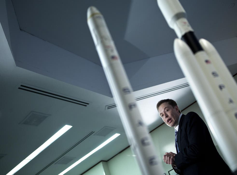 CEO and founder Elon Musk speaks at a SpaceX press conference