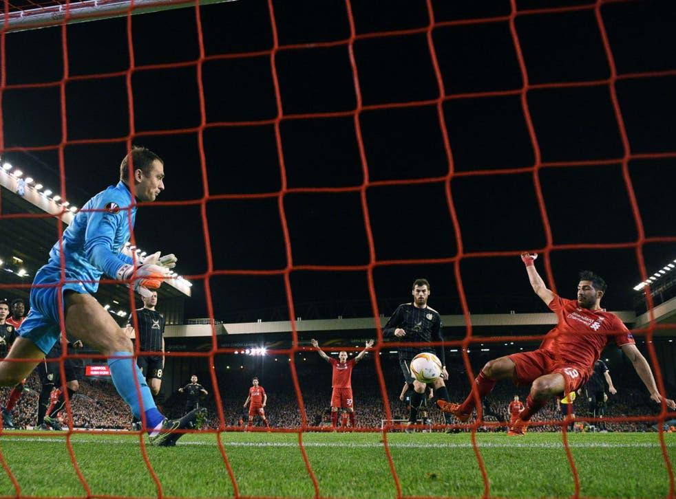 Emre Can scores Liverpool's first goal of the Jürgen Klopp era against Rubin Kazan