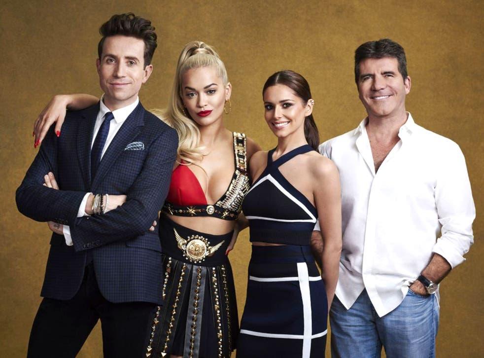 Ora with her The X Factor co-presenters Nick Grimshaw, Cheryl Fernadez-Versini and Simon Cowell