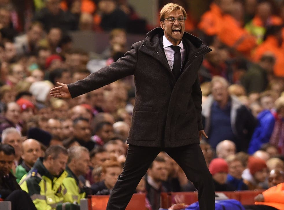 Liverpool manager Jurgen Klopp reacts on the sideline during the 1-1 draw with Rubin Kazan