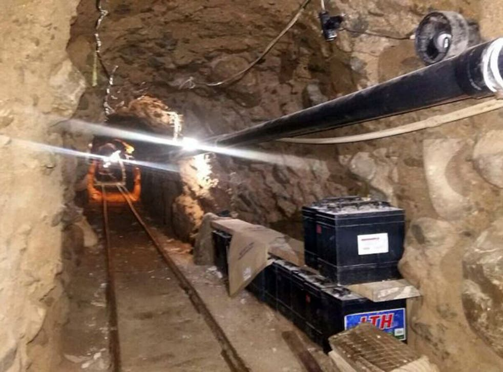 Federal police found the tunnel, complete with railway and ventilation, alongside drugs in Mexico's Tijuana city