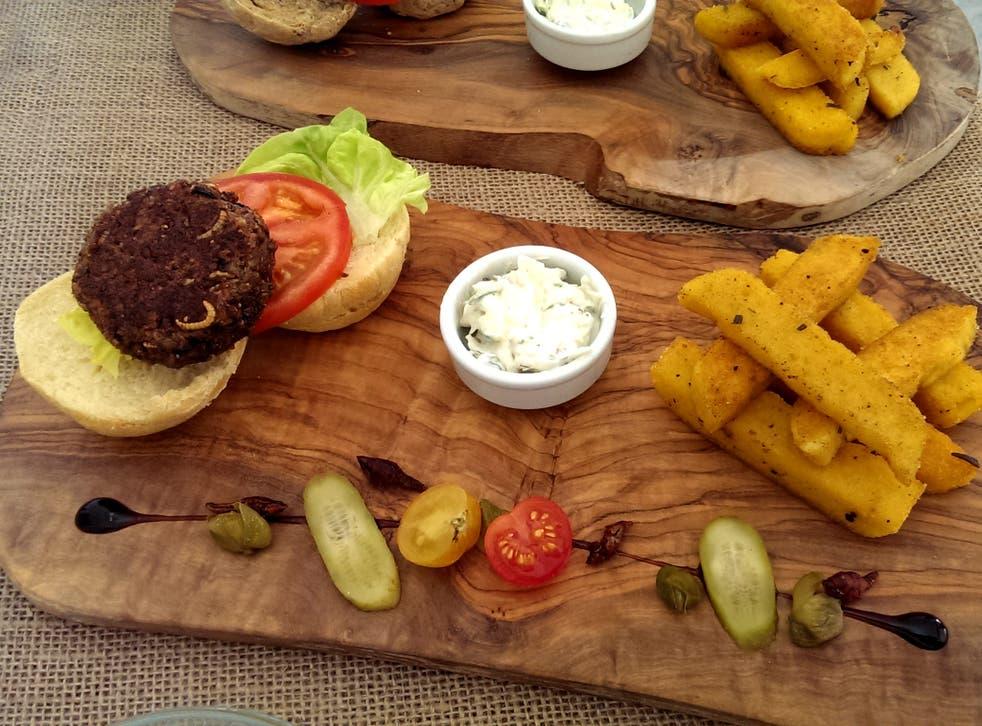 Grub Kitchen's signature bug burger