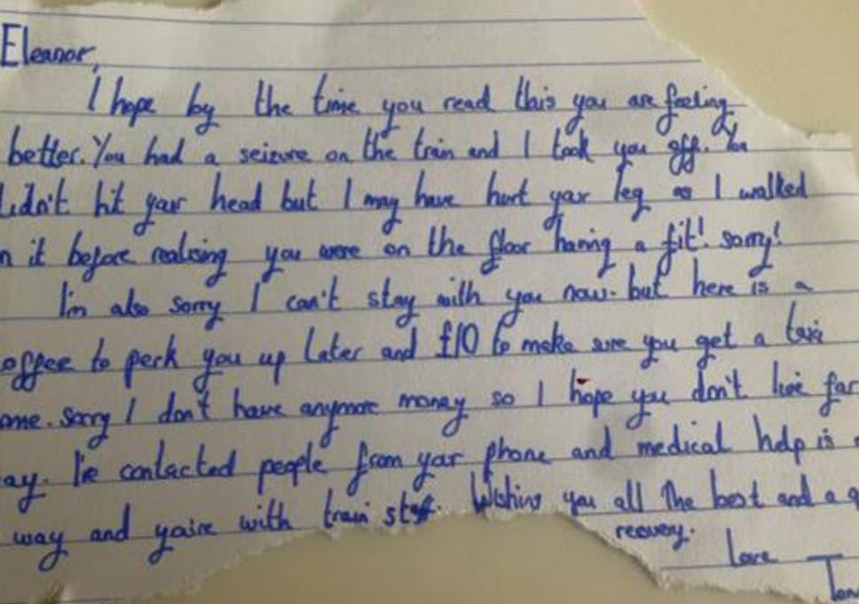 Woman trying to find stranger who left kind note after seizure on