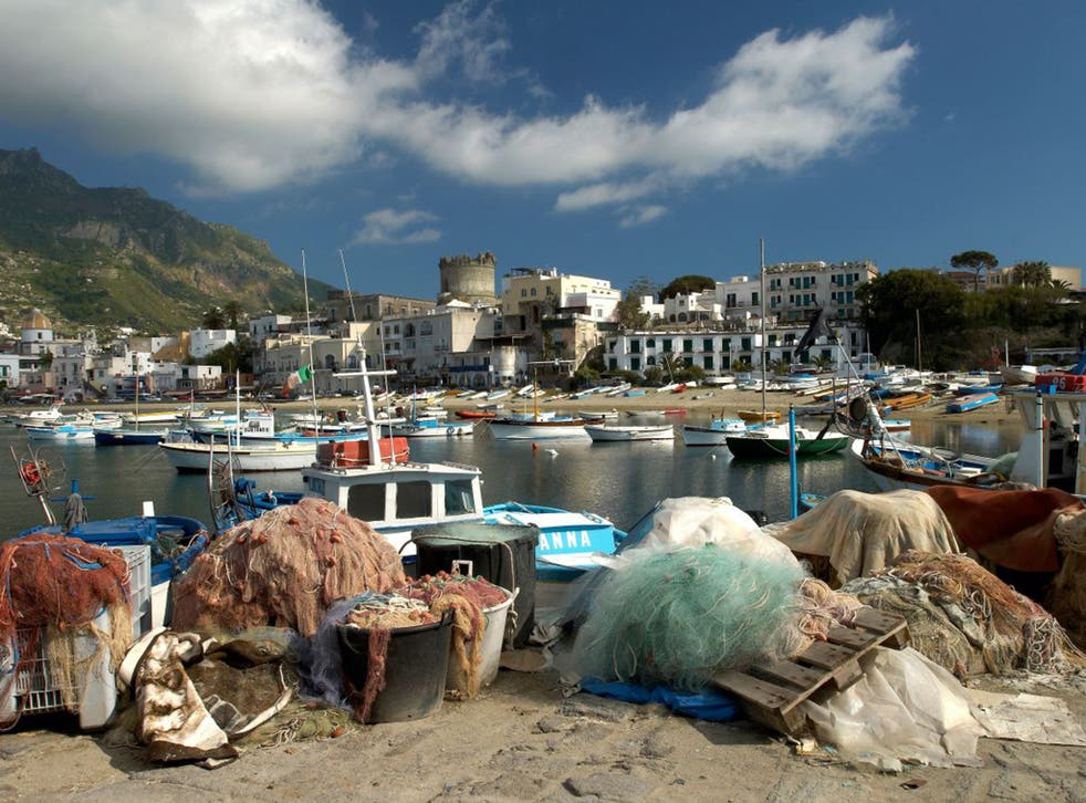 Forio harbour, Ischia, where fishermen are being trained as divers