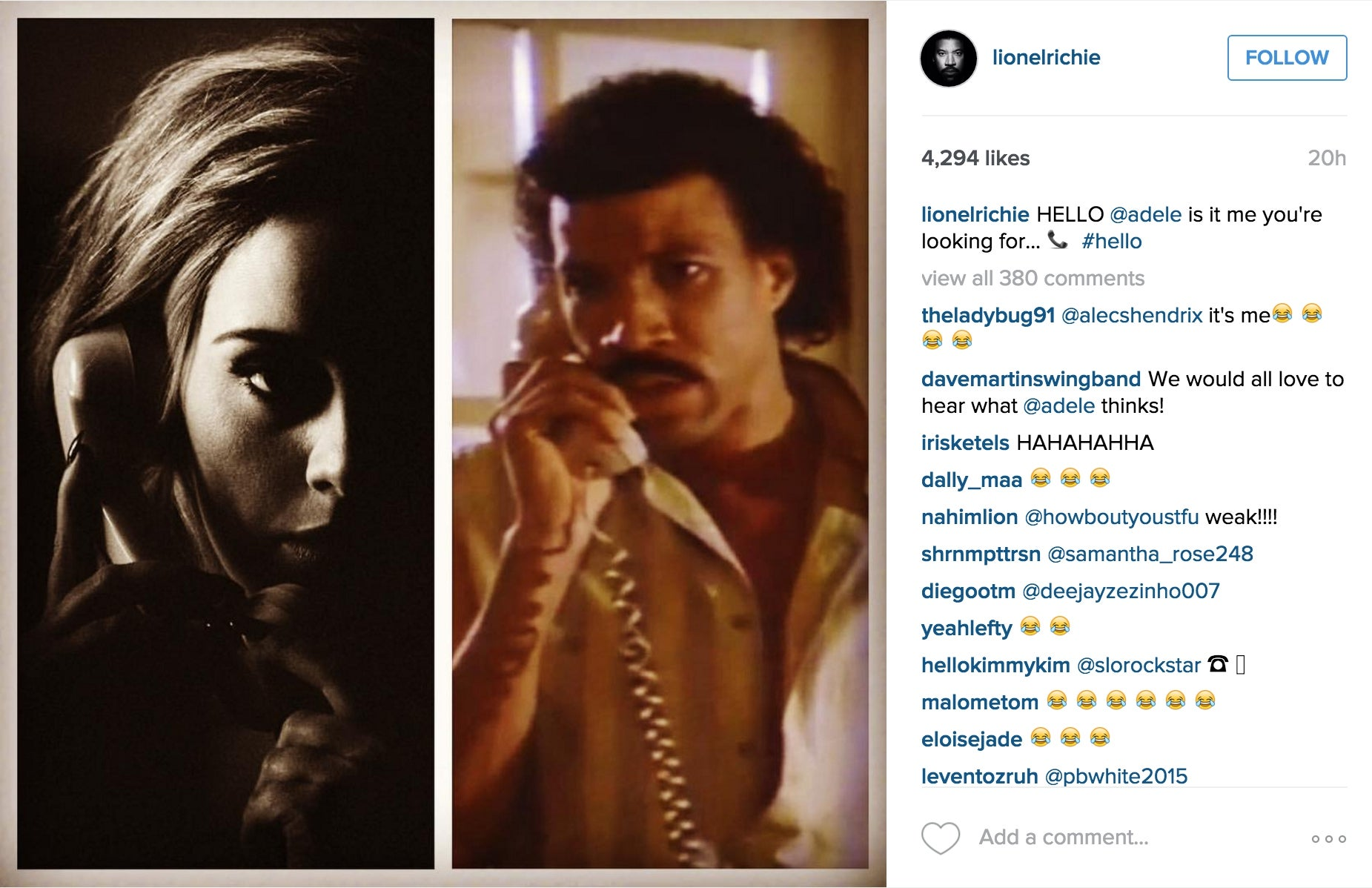 Lionel Richie Responds To Adele S Song Hello By Posting Meme On