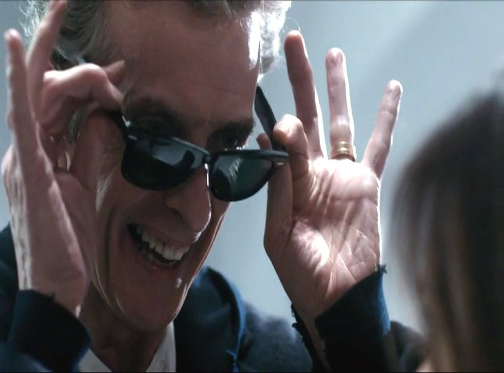 Peter Capaldi's Doctor Who wearing his controversial Sonic Sunglasses