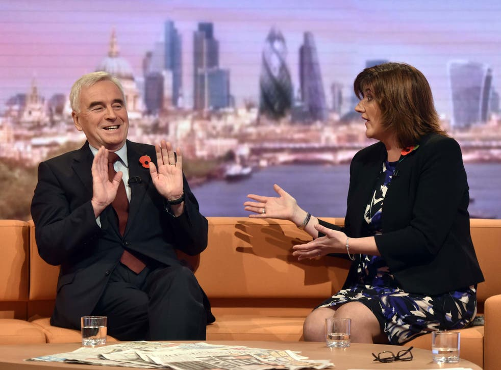 The shadow Chancellor John McDonnell and Education Secretary Nicky Morgan on 'The Andrew Marr Show'