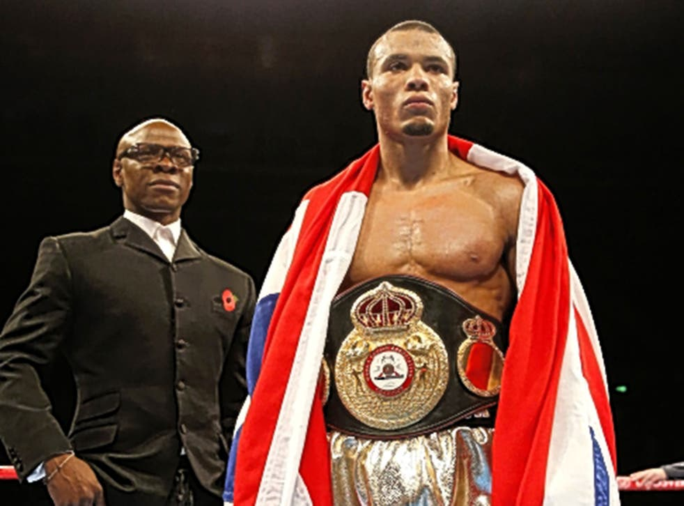 Chris Eubank Jr celebrates with his father, Chris, following his victory over Tony Jeter at Sheffield Arena on Saturday