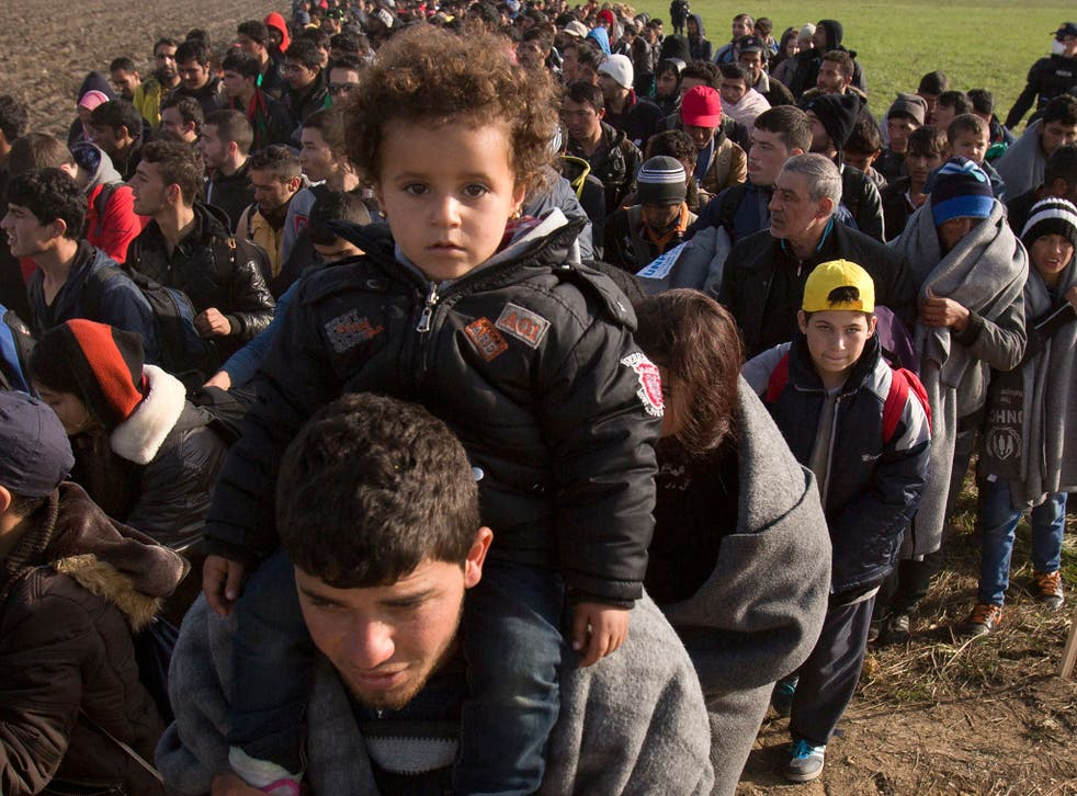 Refugees walk through fields in Romania after crossing from Croatia