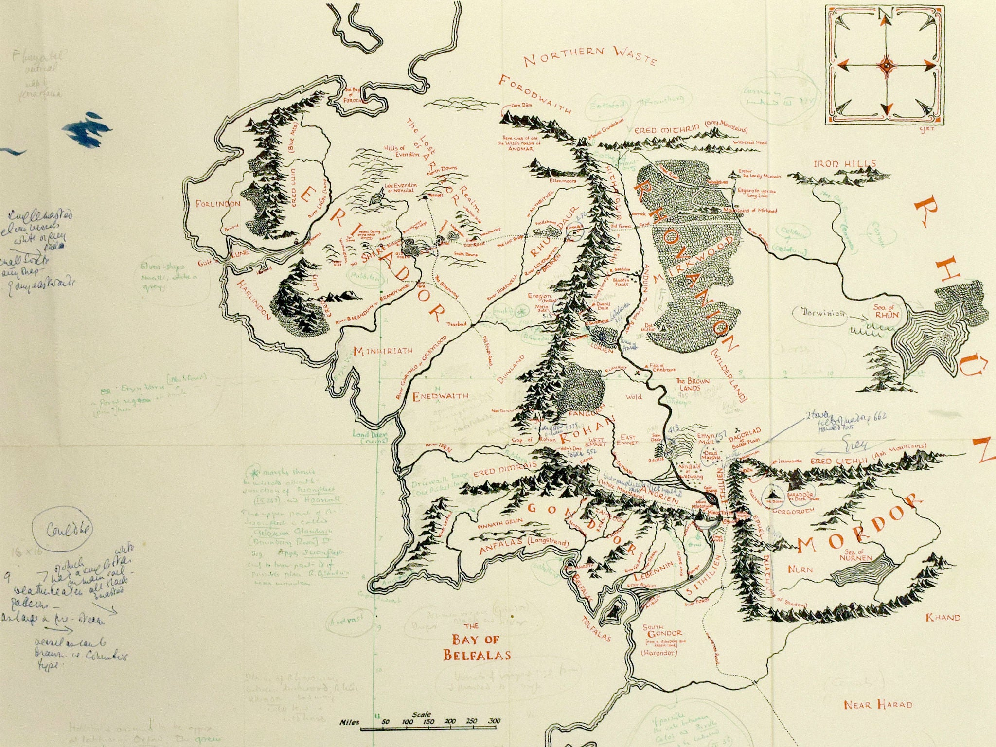 Tolkienannotated map of Middle Earth found loose in copy of Lord – Lord of the Rings Map Middle Earth