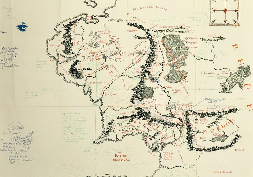 Tolkien-annotated map of Middle Earth found loose in copy of Lord of ...