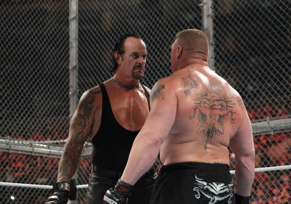 Undertaker Stares Down Brock Lesnar Ahead Of Their Match At Hell In A Cell