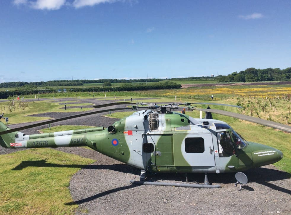 The converted  'copter, still in camouflage