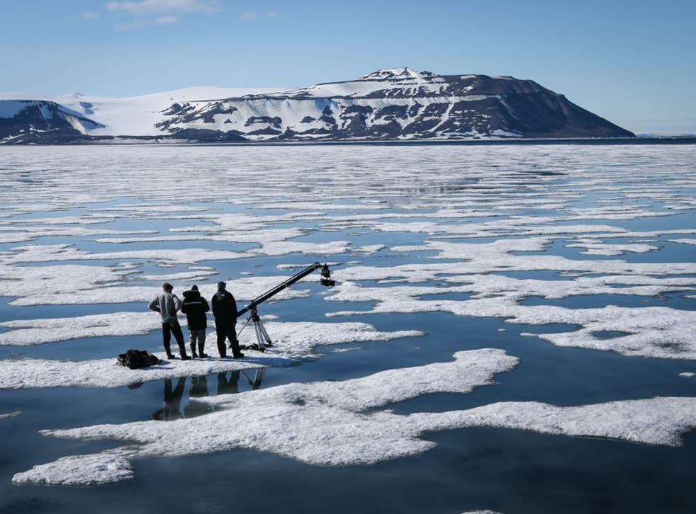 Polar guide Havard Festo, producer Jonnie Hughes and cameraman Jamie McPherson during the filming of 'The Hunt'