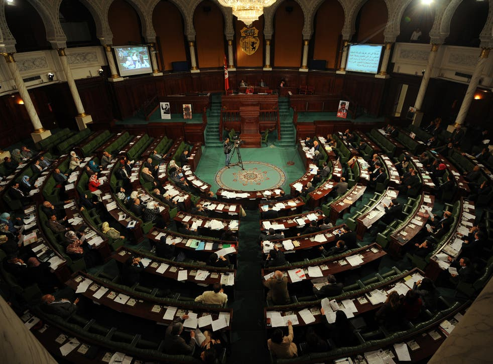 A parliamentary session of the Tunisian government. Until 2011 Tunisia was an authoritarian state where all the power lay with the president. Elections were rigged and parliament had little more than token powers.
