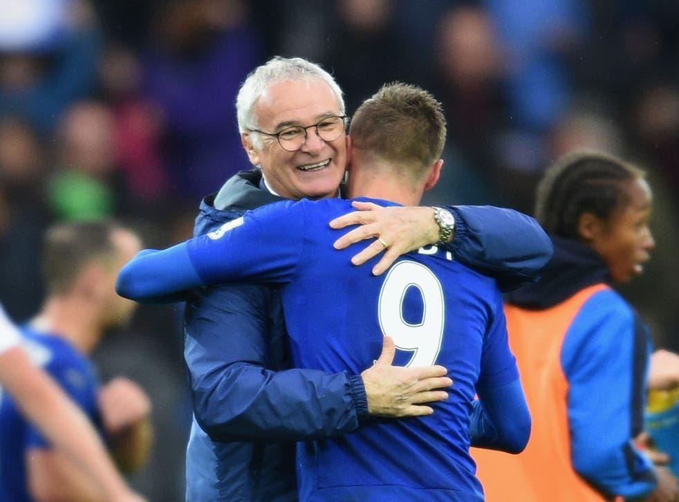 Leicester City boss Claudio Ranieri embraces Jamie Vardy, the club's man-in-form