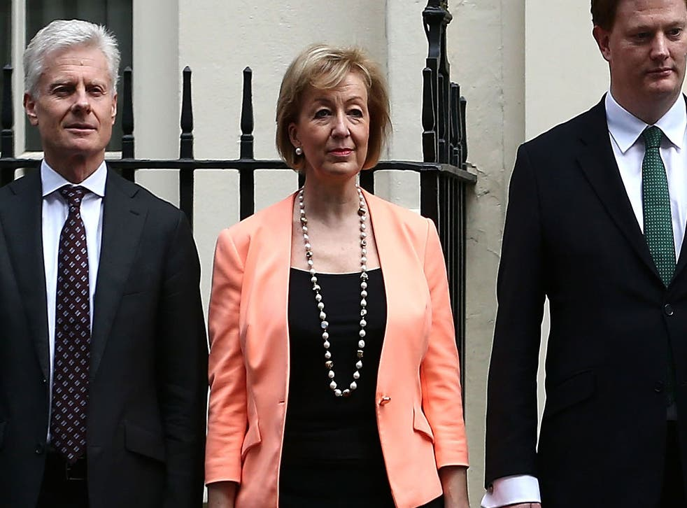 Andrea Leadsom at Downing Street in March 2015, when she was Economic Secretary to the Treasury