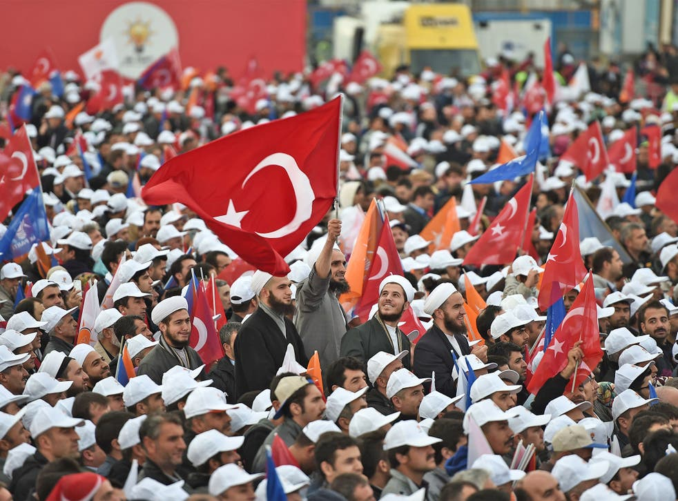 Supporters of President Recep Tayyip Erdogan's AKP at a rally in Istanbul in the run-up to the Turkish general election which takes place on Sunday
