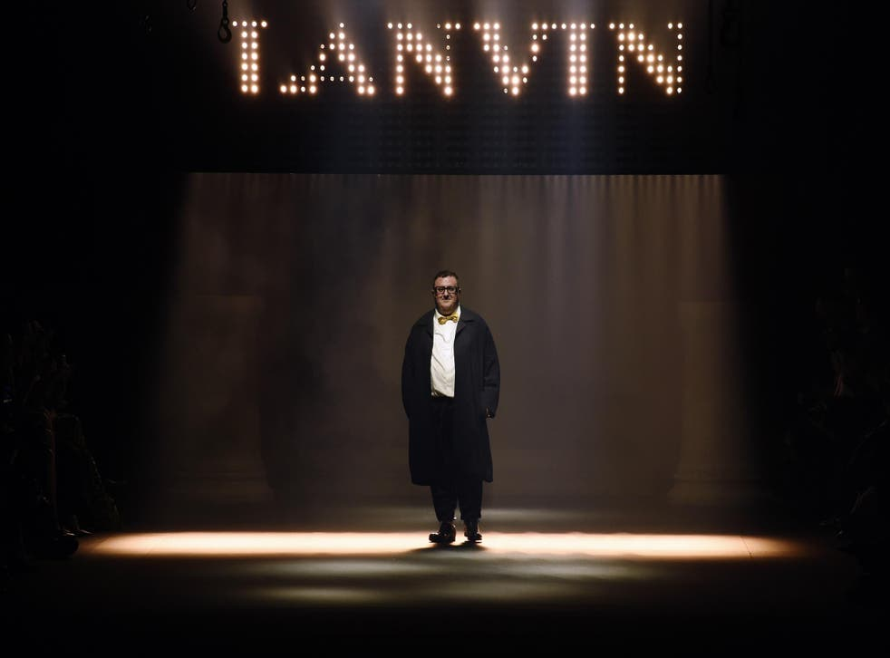 Designer Alber Elbaz walks the runway during the Lanvin show as part of the Paris Fashion Week Womenswear Spring/Summer 2016 on October 1, 2015 in Paris, France.